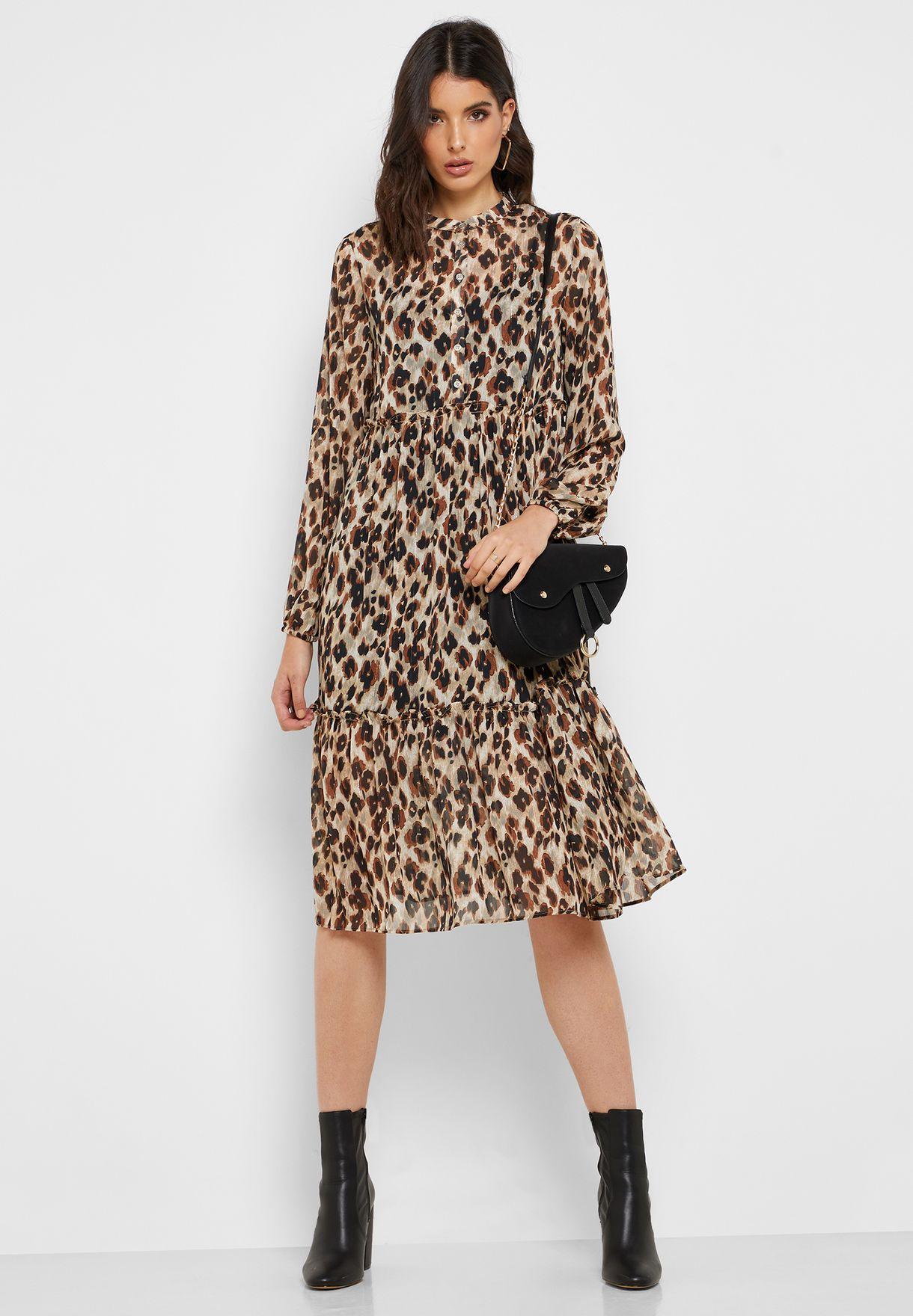 Animal Print High Neck Dress