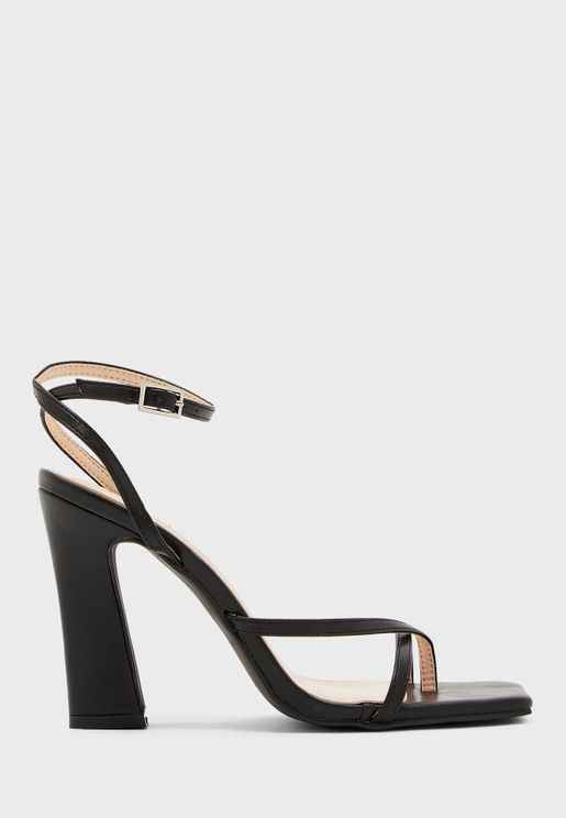Square Toe Skinny Ankle Strap Feature Heel Sandal