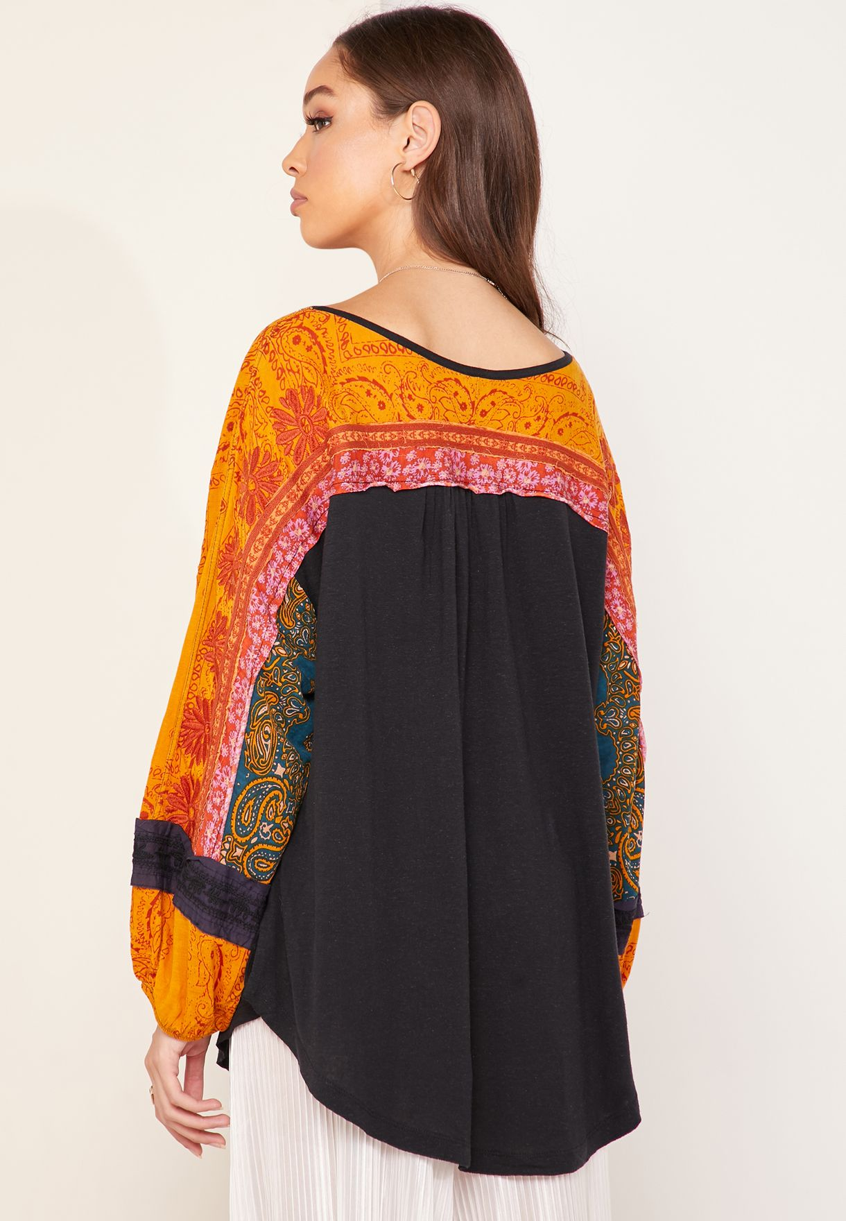Tripoli Wide Sleeve Embroidered Top
