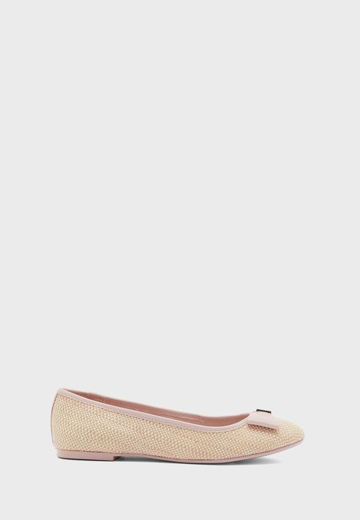 Sualli Bow Ballet Low Heel Pump