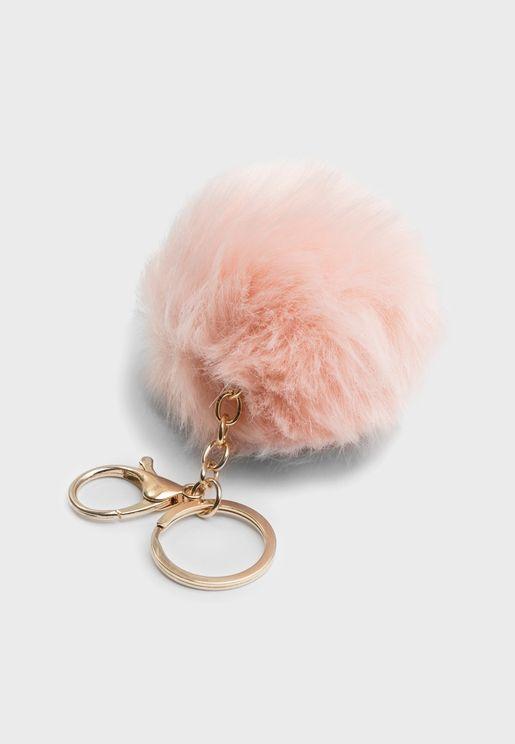 Pink Pom Pom Key Ring