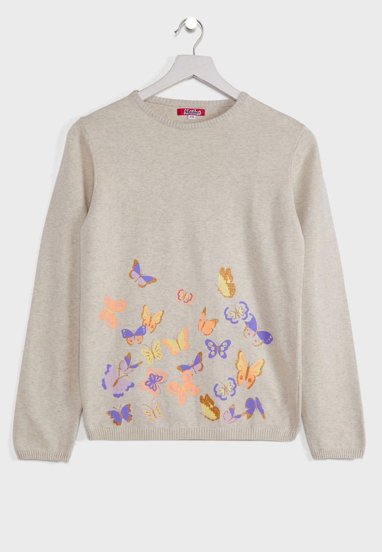 Natilene Butterflies Print Pure Pullover