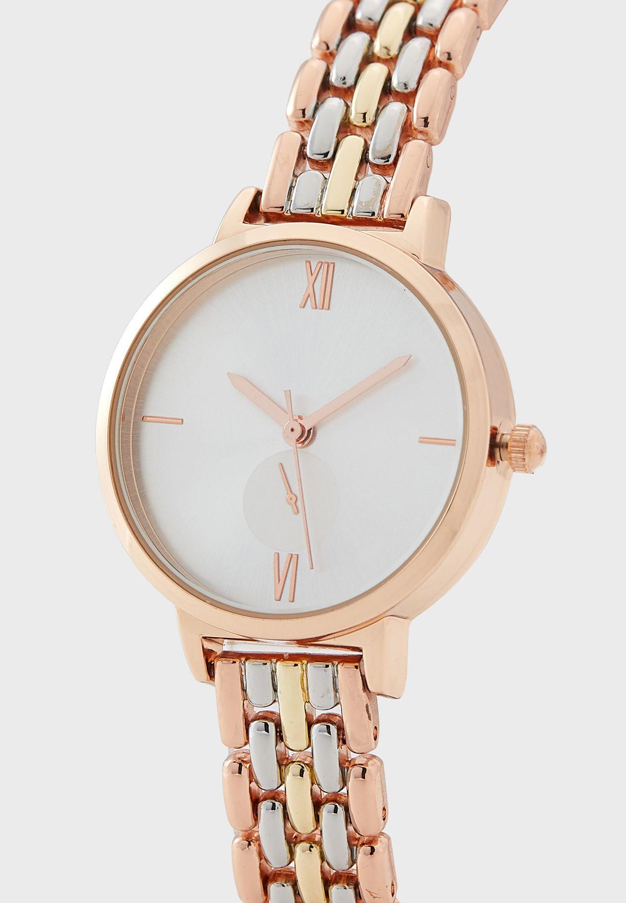 Tri Tone 5 Link Bracelet Watch