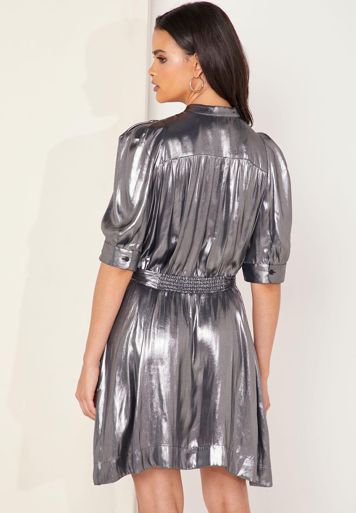 فستان قصير ميتاليك
