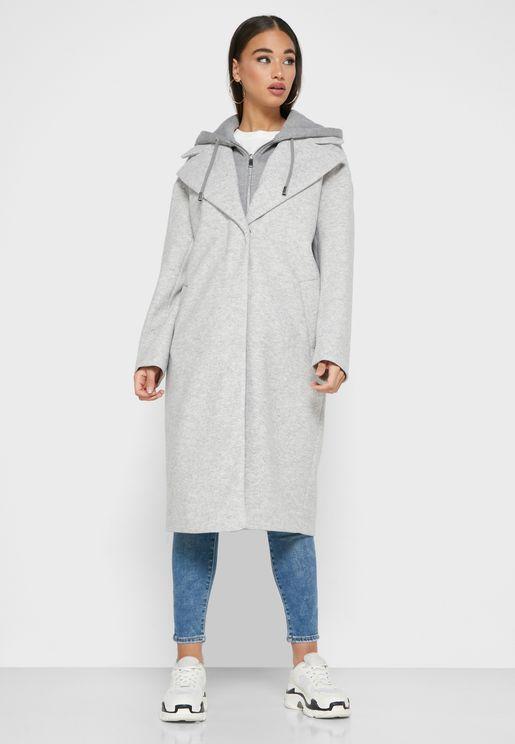 معطف بجيوب جانبية