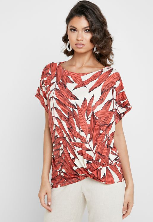 Front Twist Printed Top