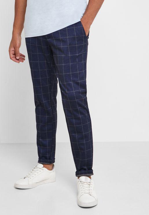 Mark Check Print Trousers