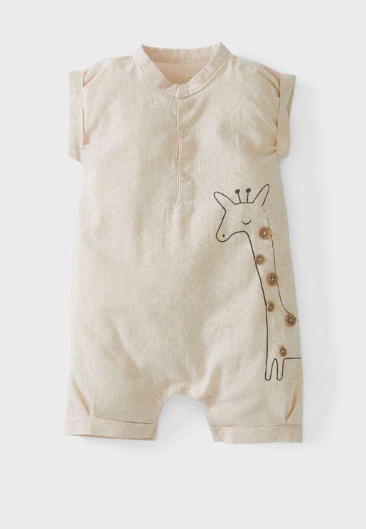 Infant Giraffe Print Romper