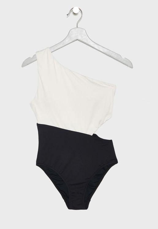 7a30dbae1f1 Colourblock Asymmetric Neck Swimsuit