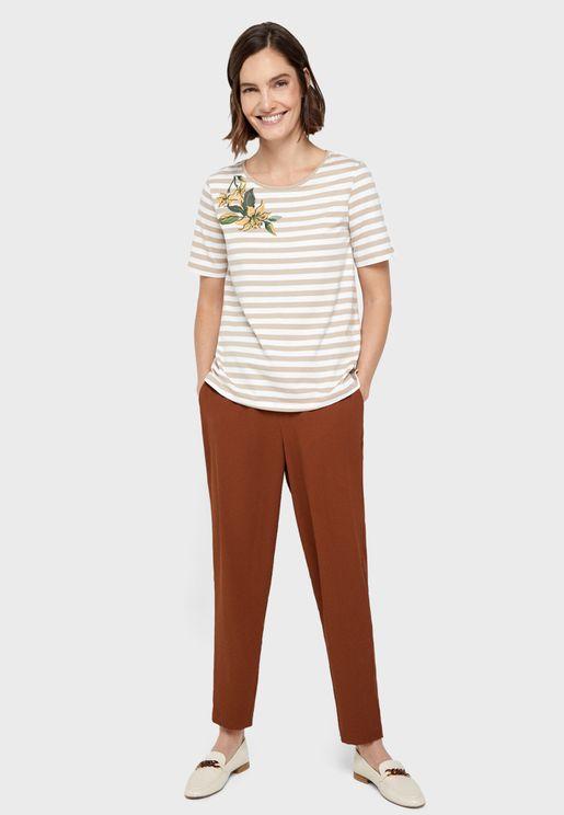 Applique Detail Striped T-Shirt
