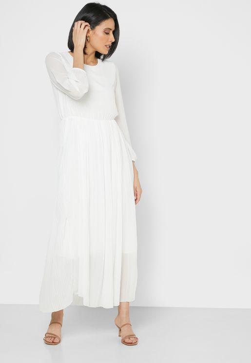 فستان ماكسي بخصر مطاطي