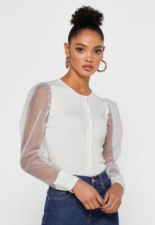 Mesh Sleeve Button Down Top