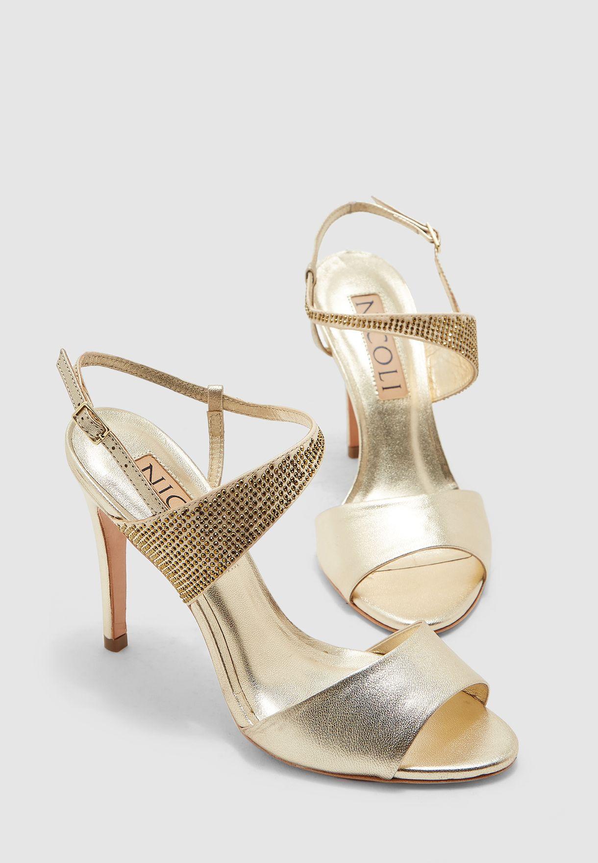 Lorena Ankle Strap Buckled Mid Heel Sandal