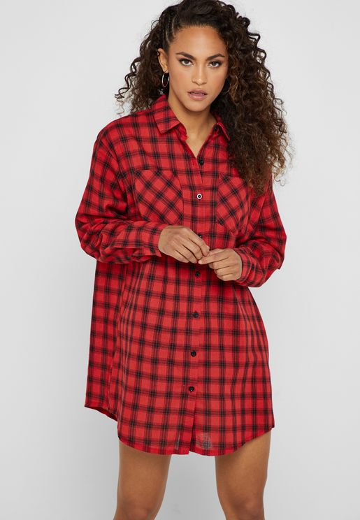 Oversized Checked Shirt Dress