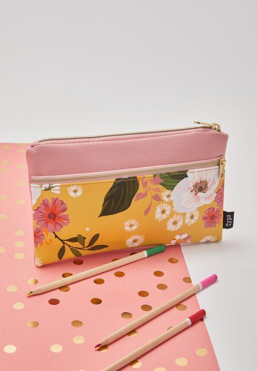 Yellow Floral Archer Pencil Case