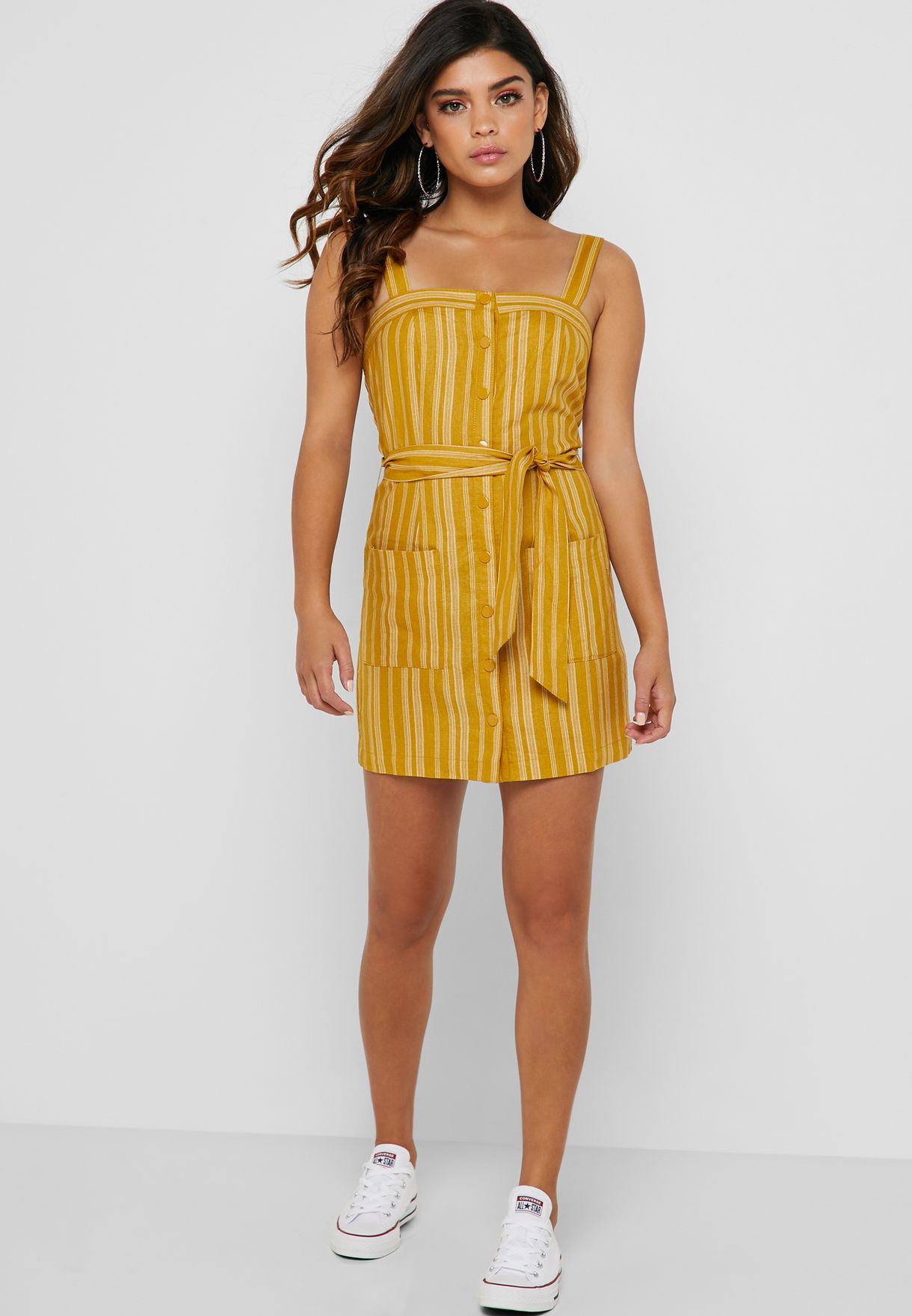 0a68a36e46f Shop Forever 21 yellow Tie Waist Button Down Dress 344317 for Women in  Bahrain - 20008AT72WFP