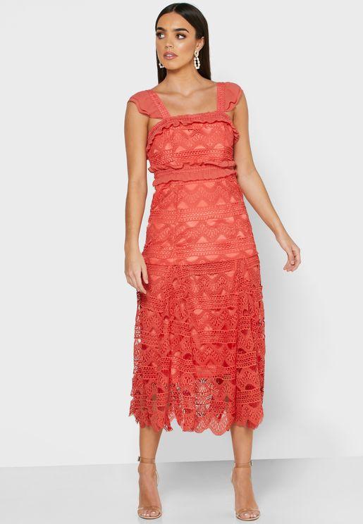 Ruffle Trim Laser Cut Dress