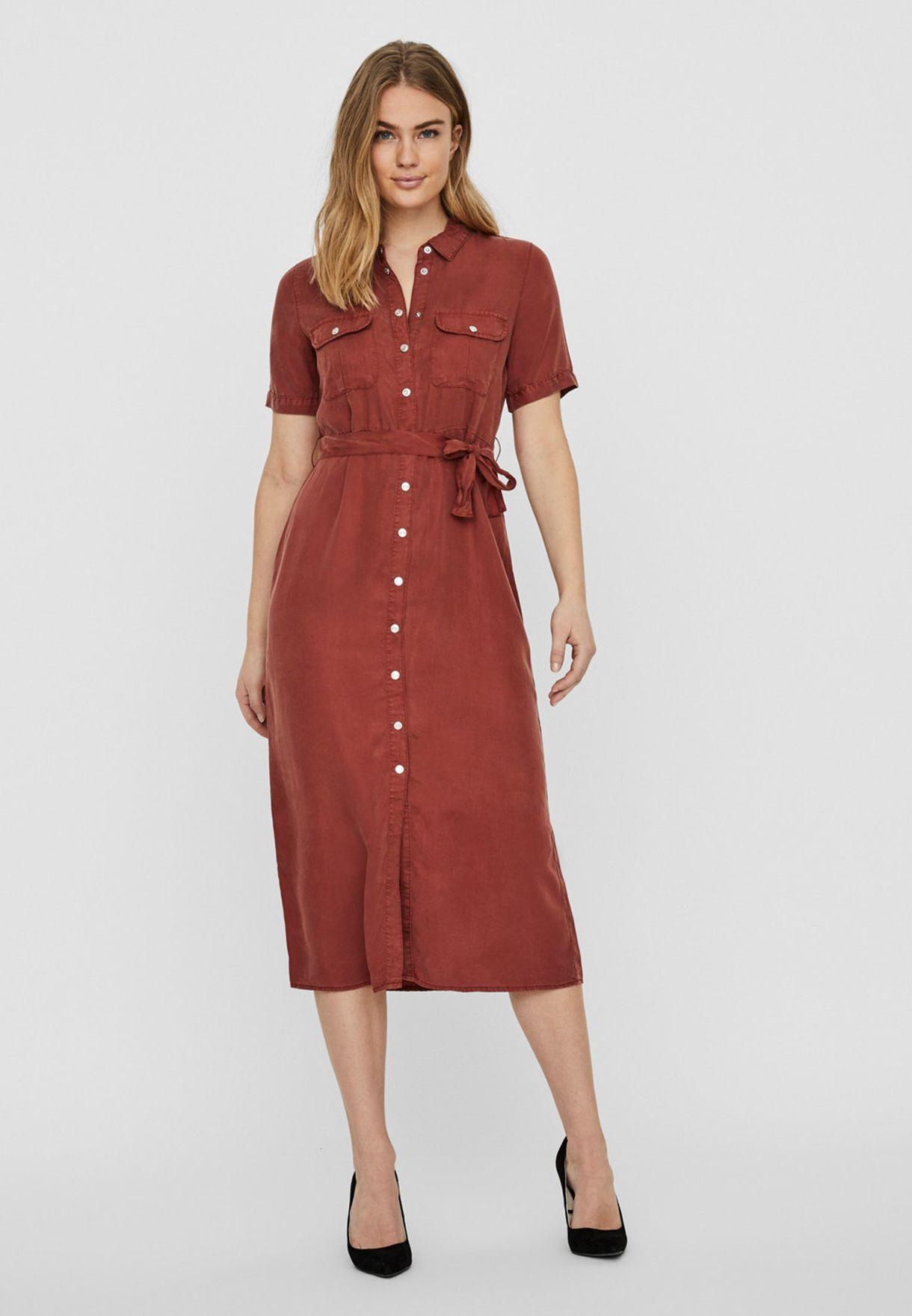 Tie Waist Short Sleeve Shirt Dress