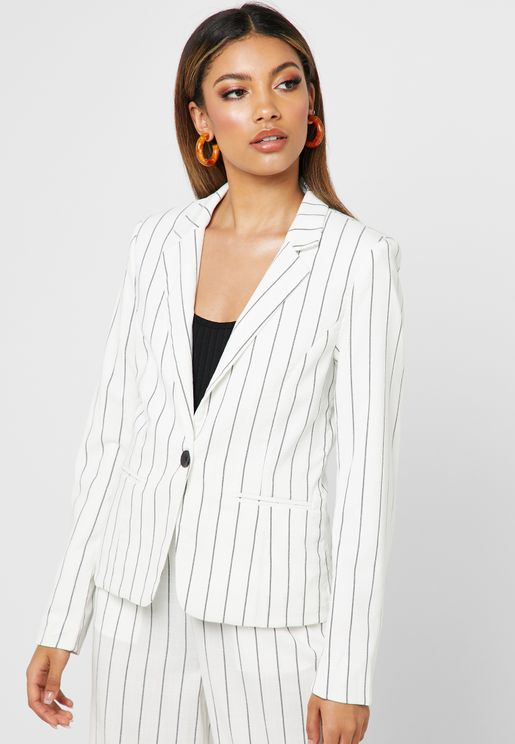 Button Detail Striped Blazer