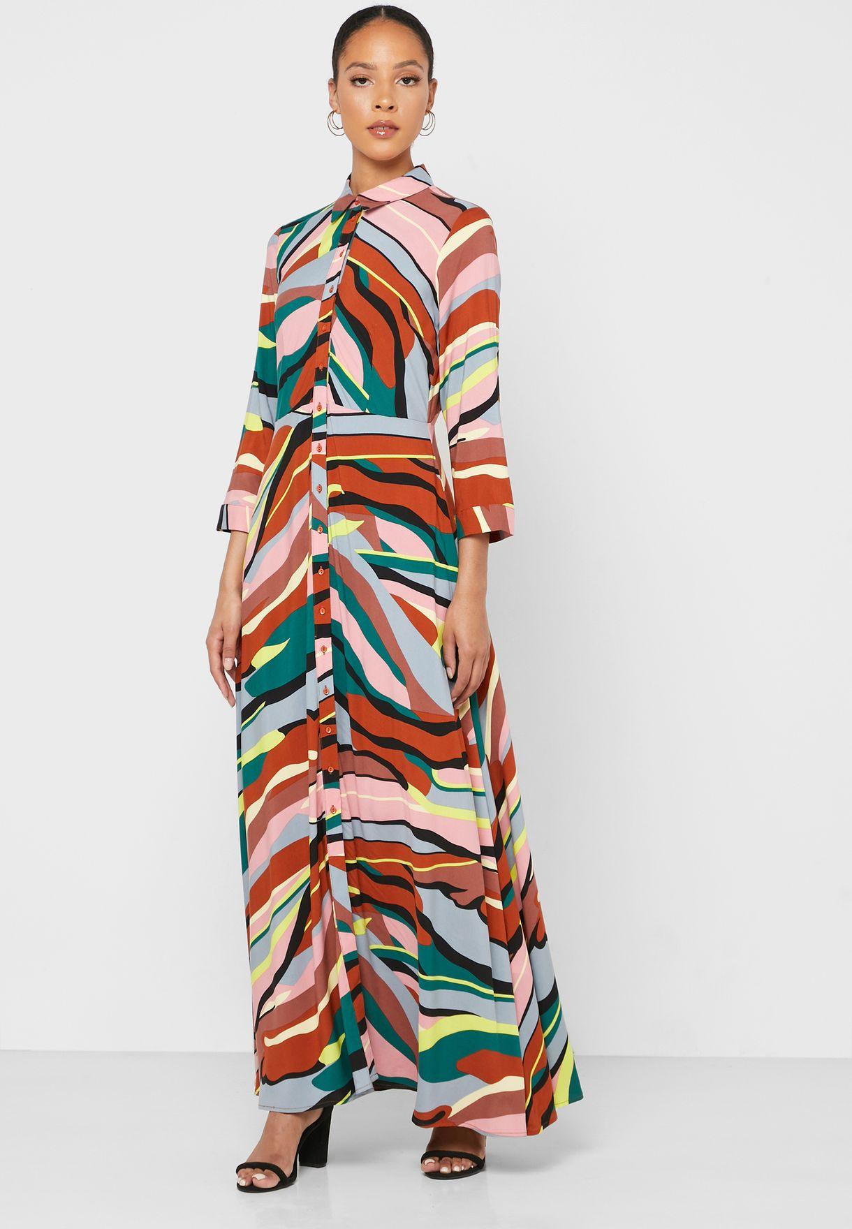 Ruffle Hem Printed Shirt Dress