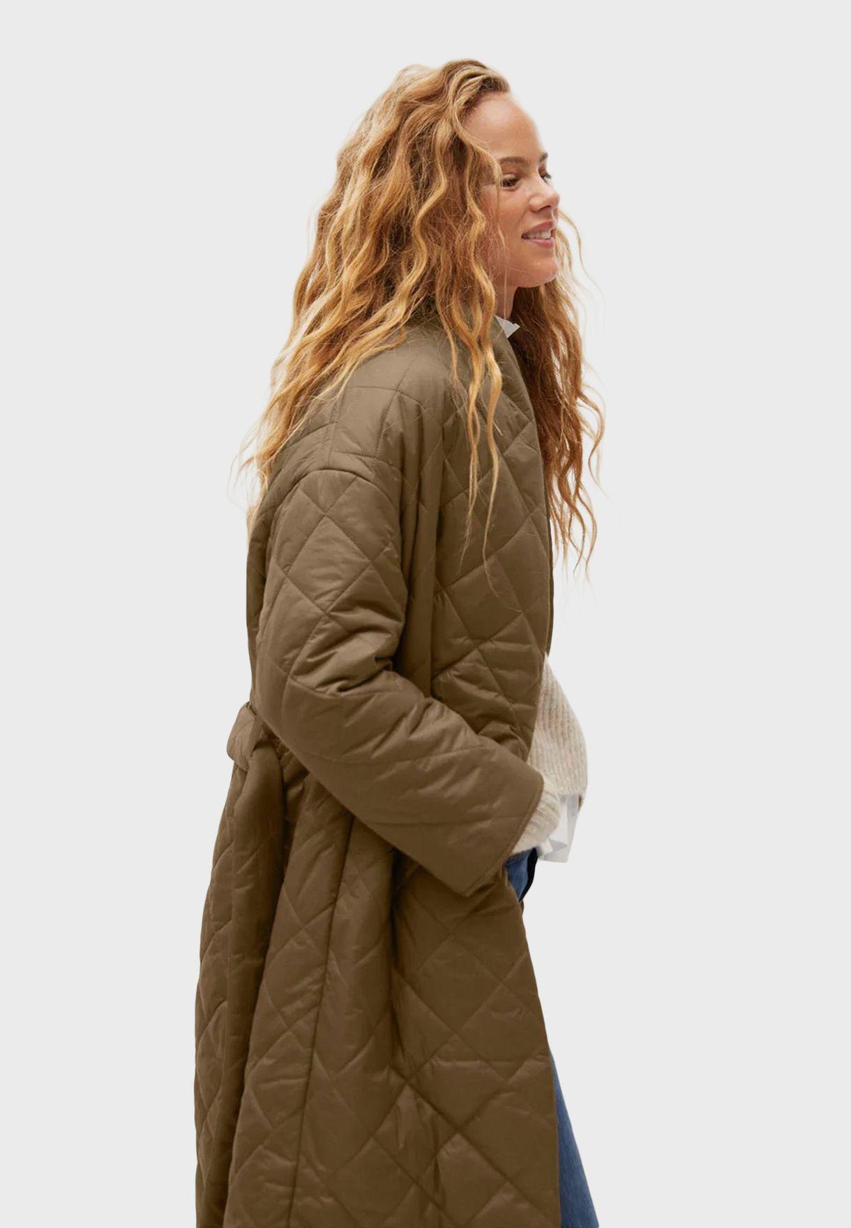 Belted Longline Puffer Coat
