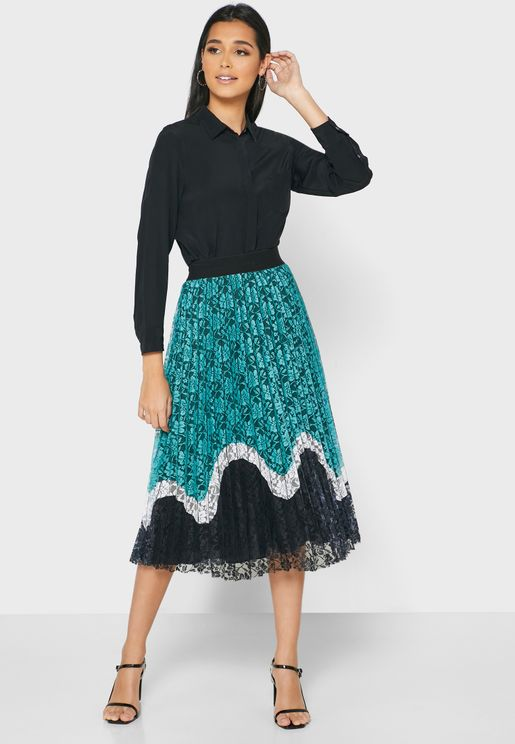 Pleated Colorblock Midi Skirt