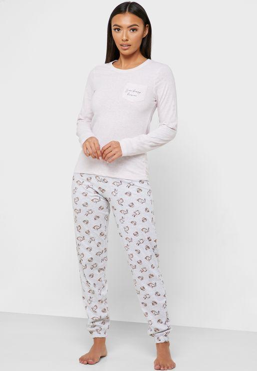 Pocket Detail T-Shirt & Pyjama Set