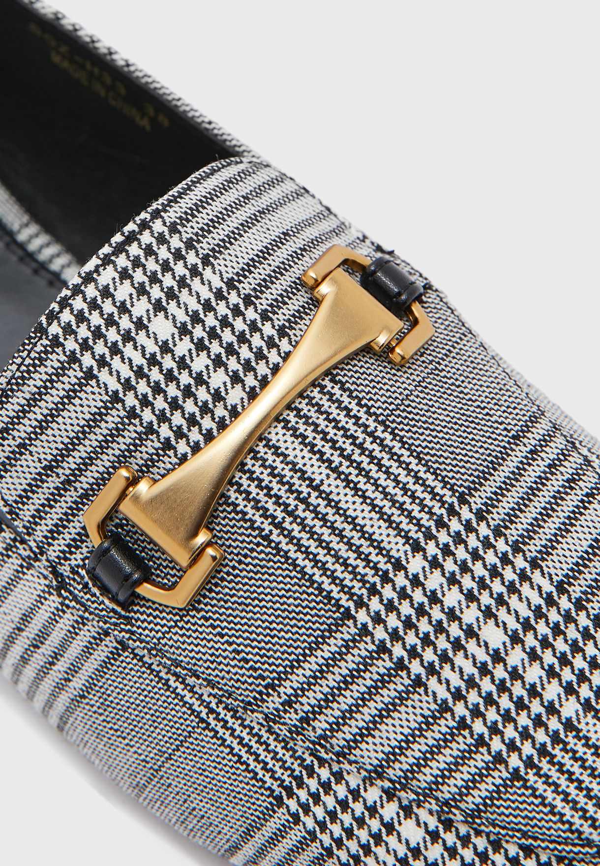 Checked Loafer With Twisted Buckle Detail