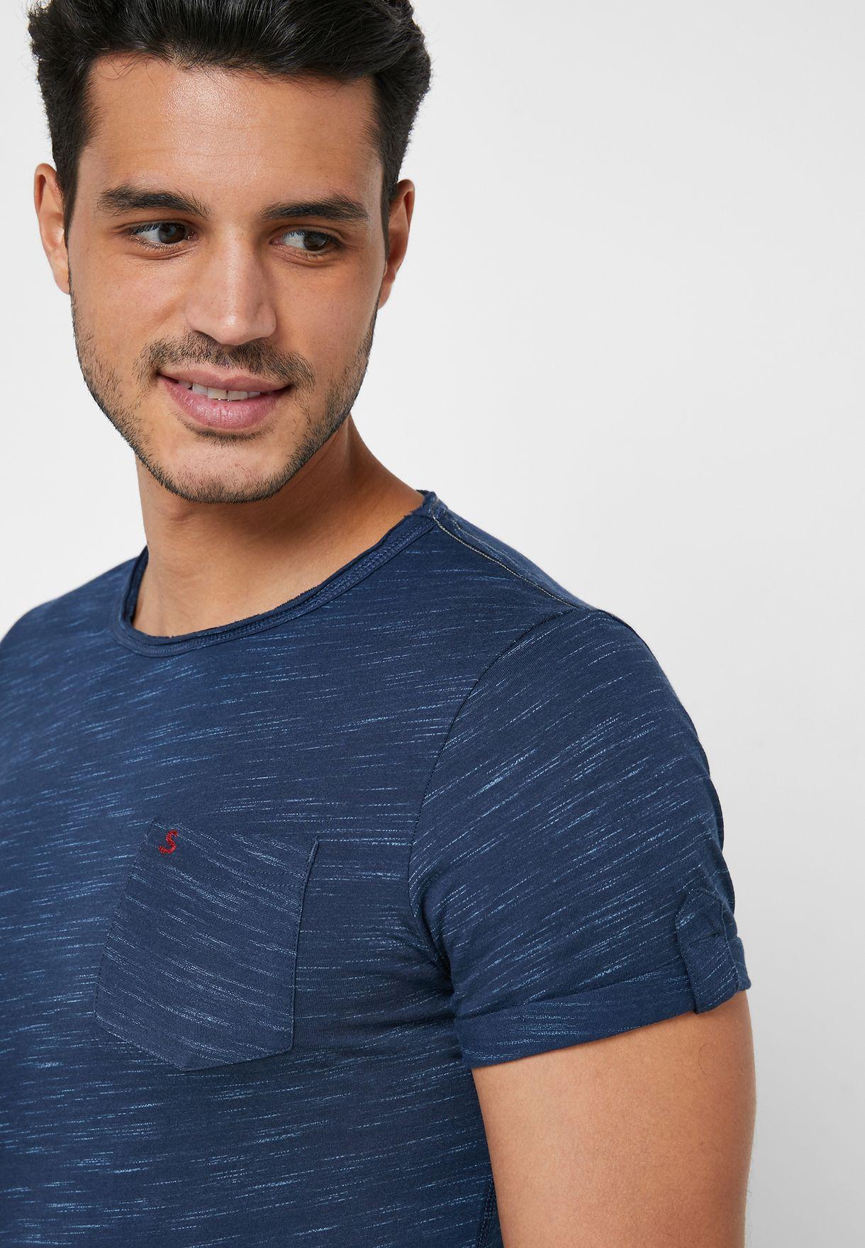 Textured Slim Fit Crew Neck T-Shirt