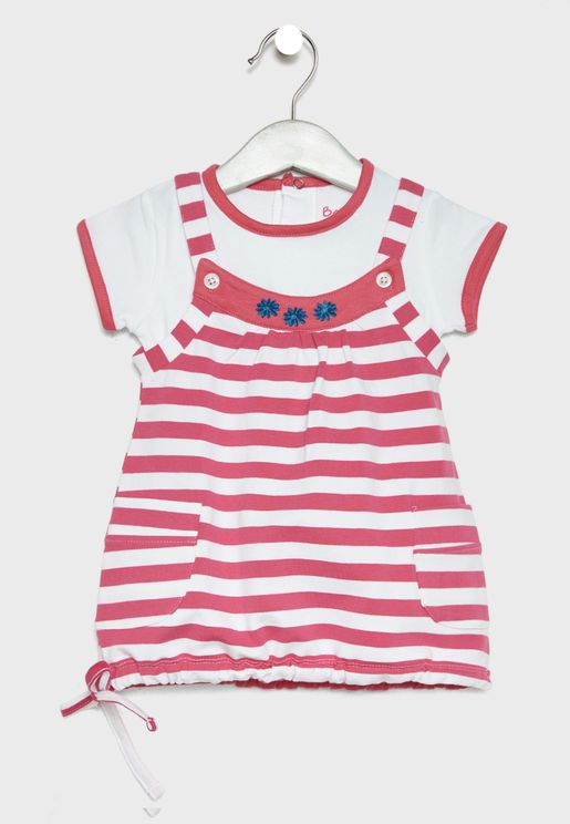 Infant Top + Striped Dress Set