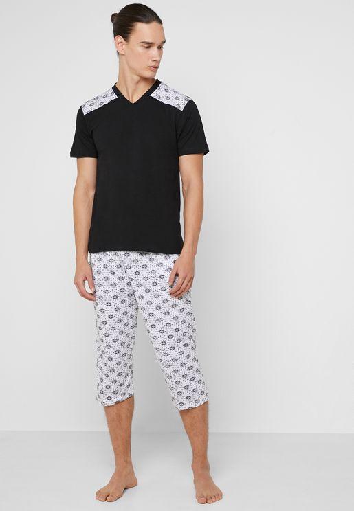 V Neck Nightwear Set