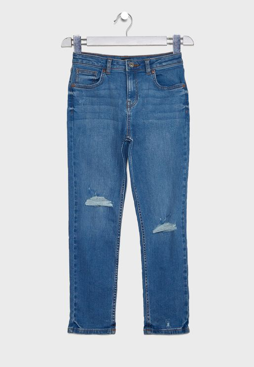 جينز بنمط باهت للاطفال