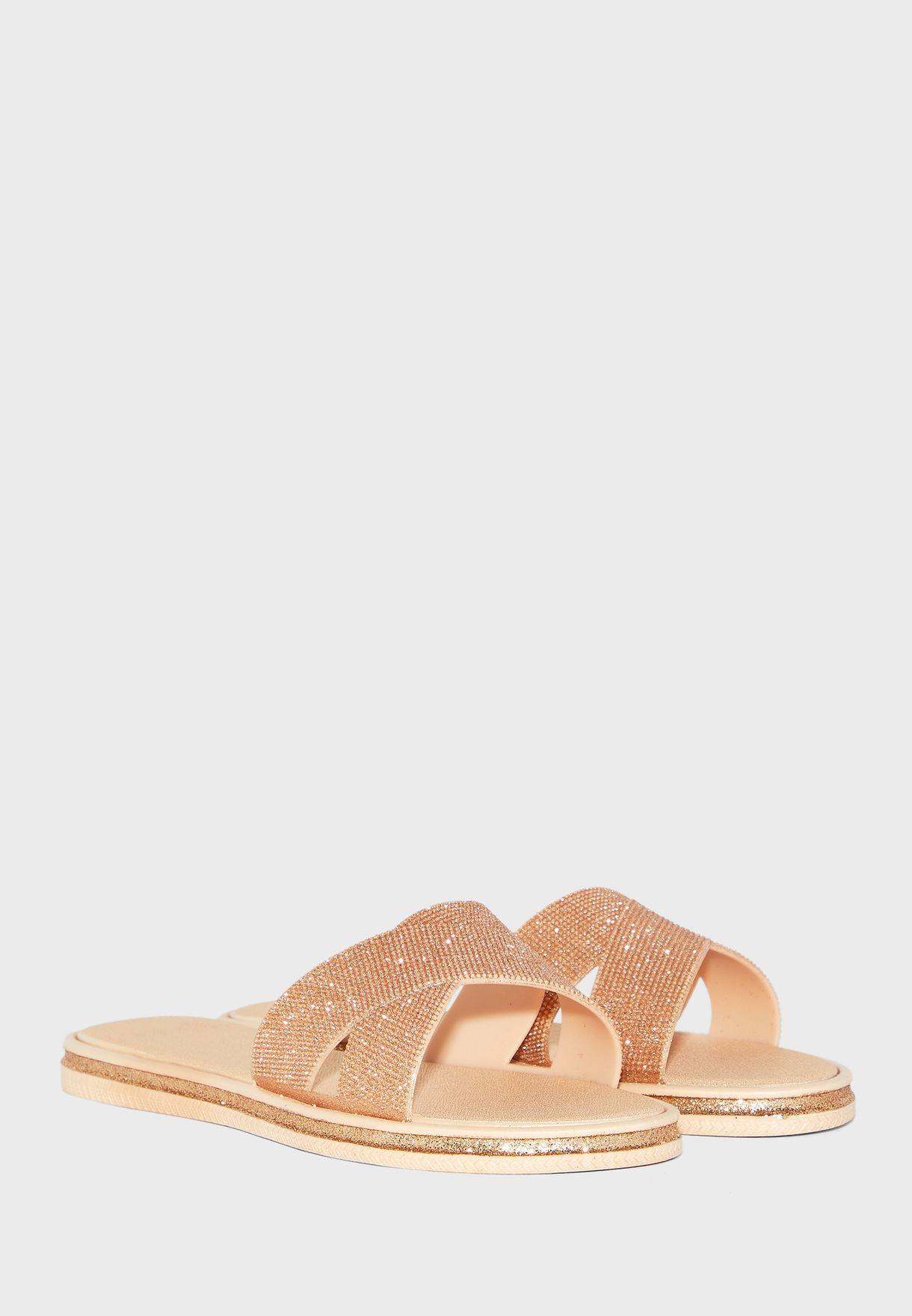 Ladies Mock Cross Strap Sandal