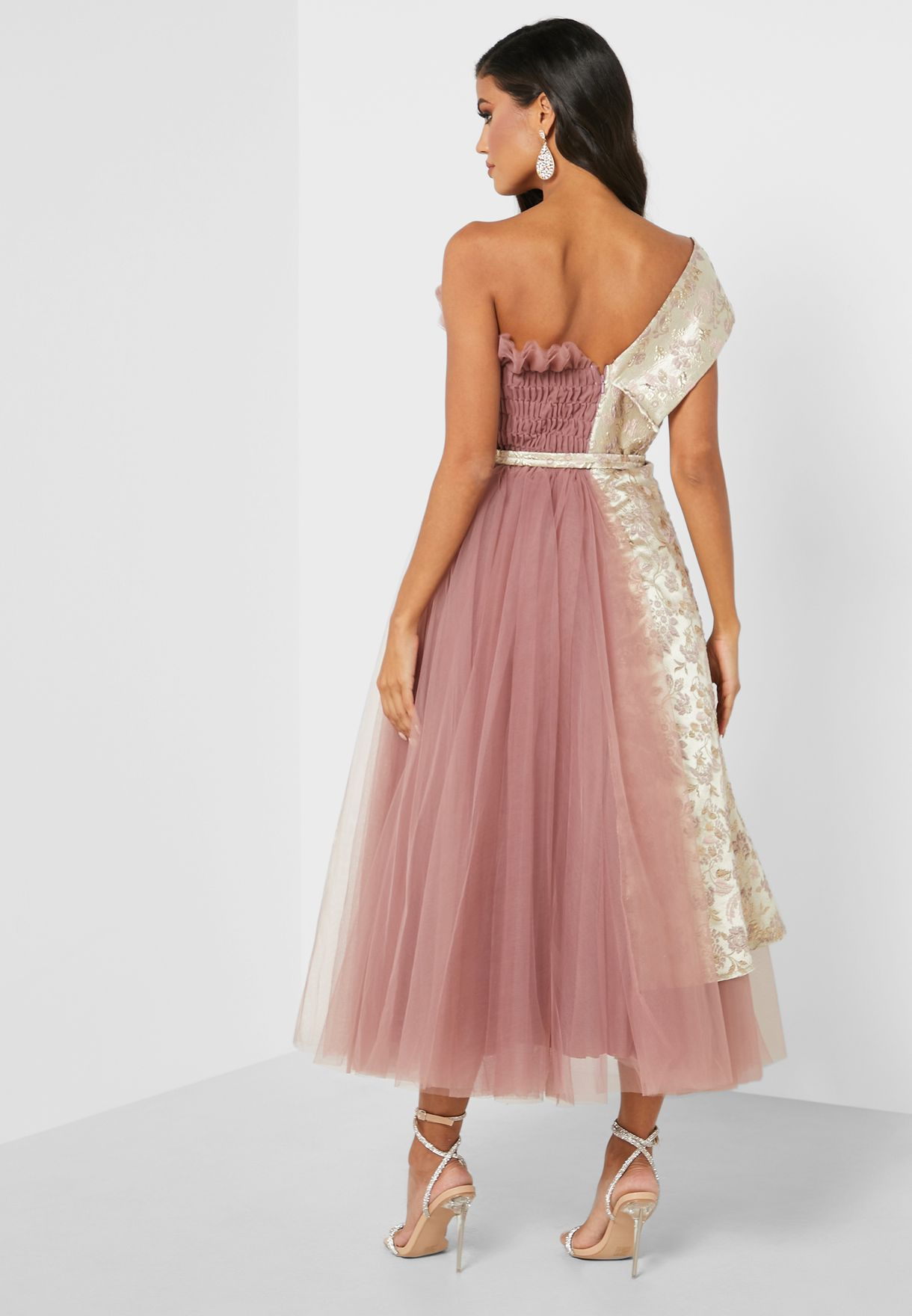 Belted Tulle Jacquard Dress