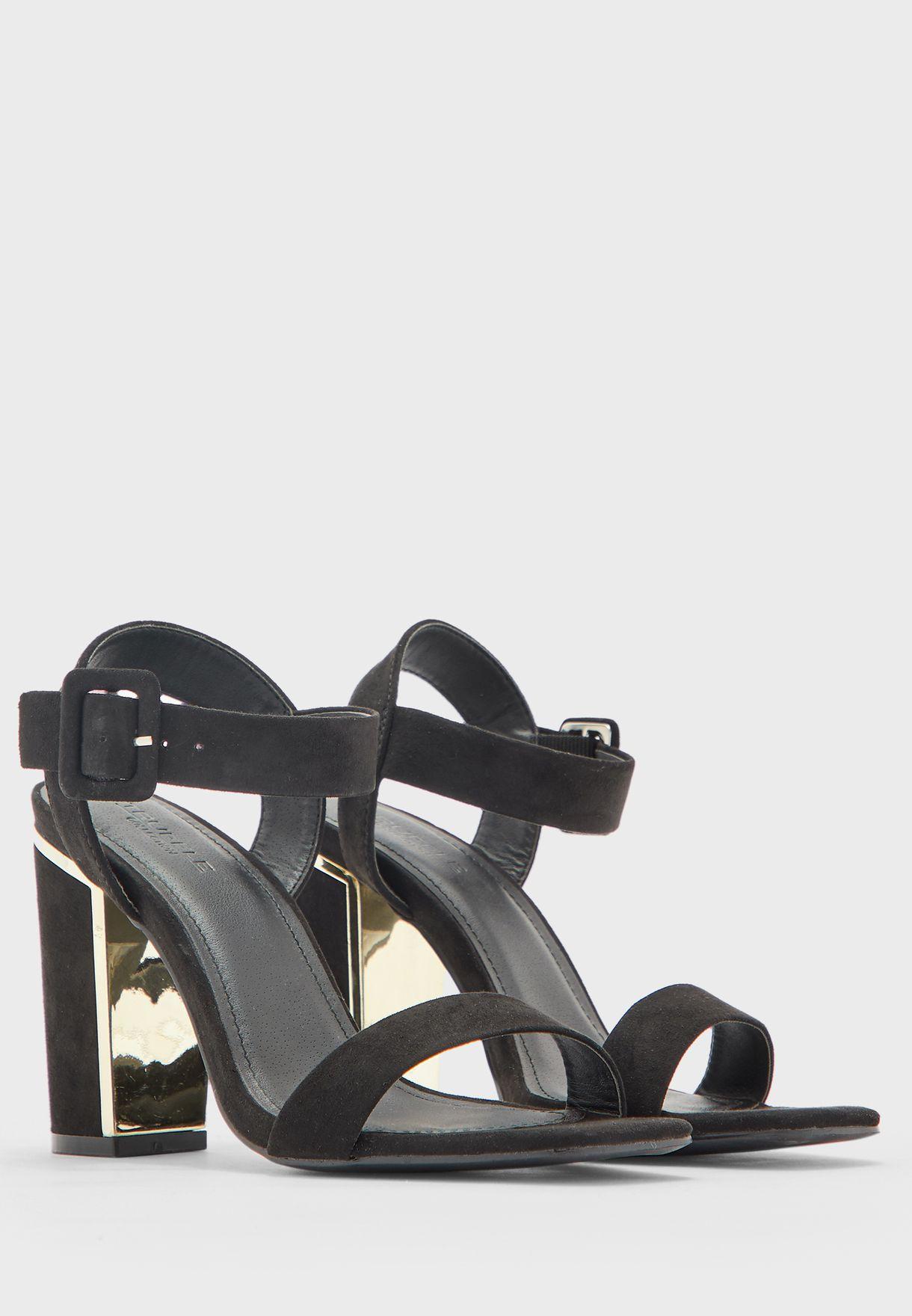 Buckle Ankle Strap Block Heel Sandal