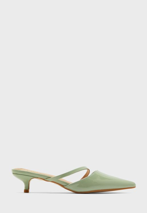 Pointed Stiletto Mule With Asymetric Strap