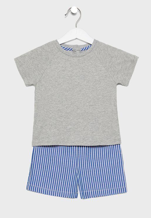 Kids Essential T-Shirt + Striped Shorts Set