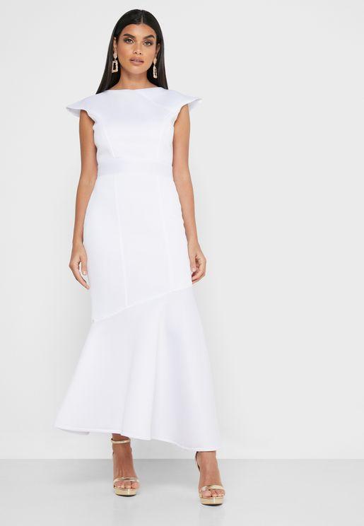 Fishtail Scuba Maxi Dress