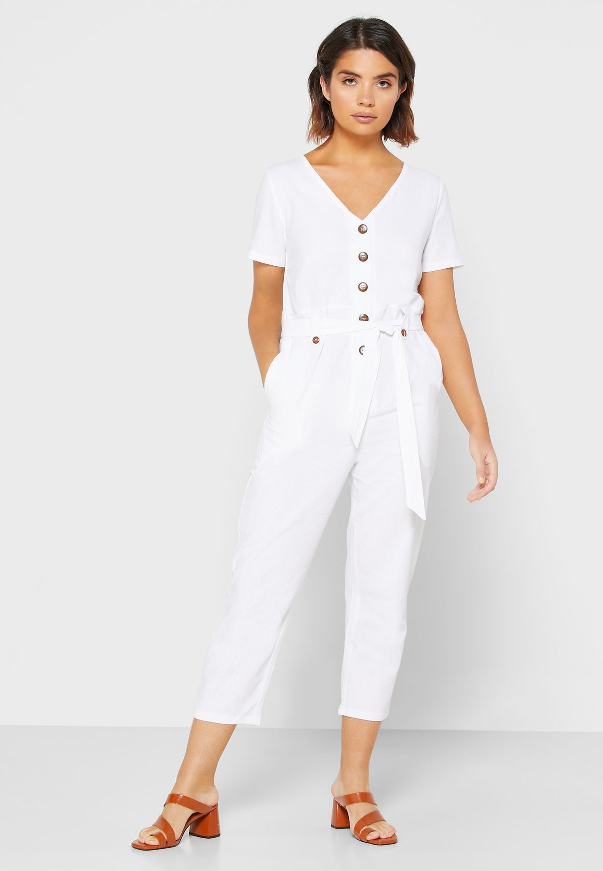 Drawstring Cropped Jumpsuit