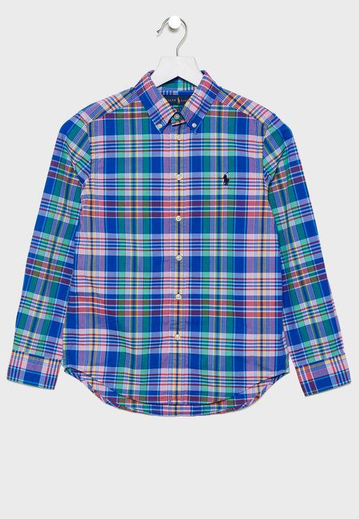 قميص بطباعة مربعات