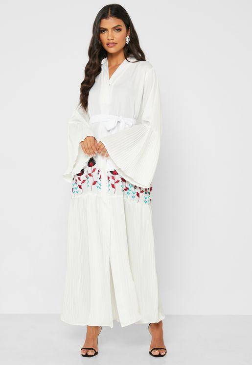 Printed Flute Sleeve Abaya