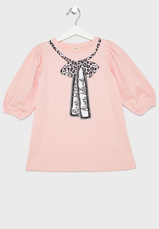 Infant Bow Print T-Shirt Dress