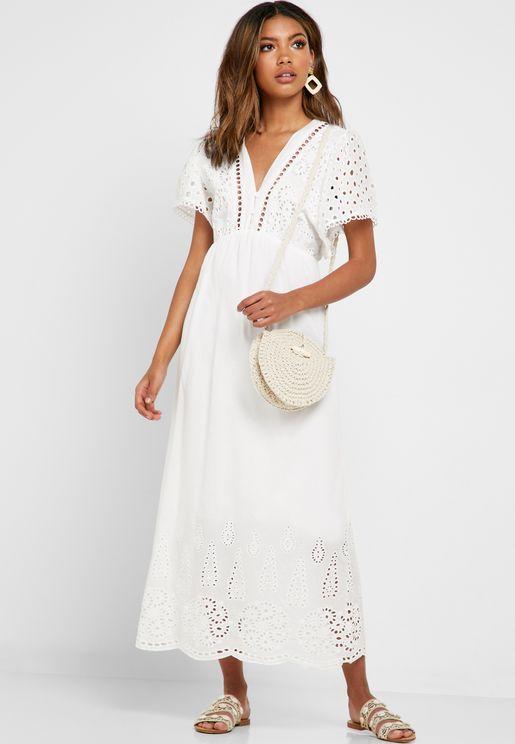 Schiffli Detail Maxi Dress