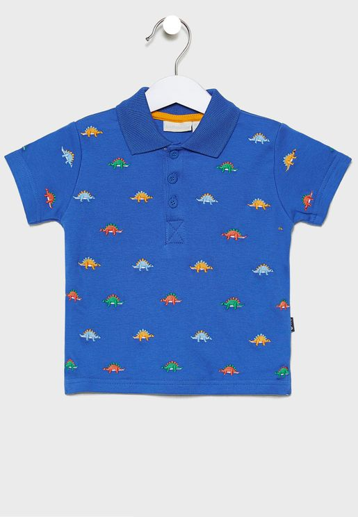 Kids Dino Embroidered Polo