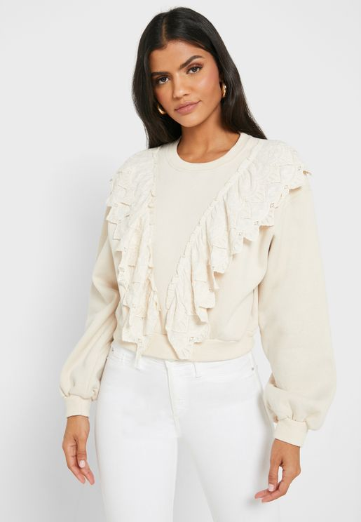 Ruffle Crochet Paneled Sweatshirt