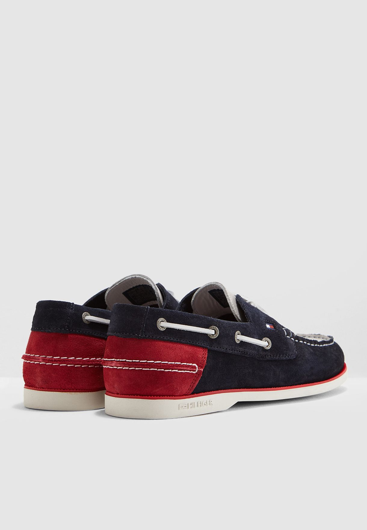 96a531a68b1af9 Shop Tommy Hilfiger navy Classic Suede Boat Shoes FM0FM02112020 for ...