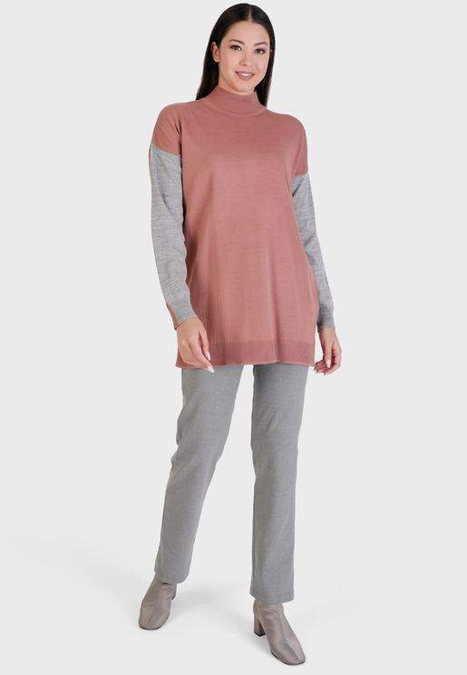 High Neck Contrast Detail Tunic