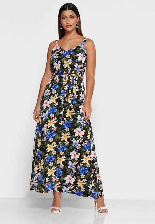 فستان بأربطة خصر وطبعات ازهار