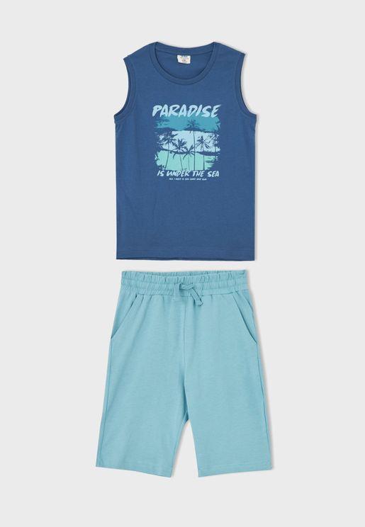Youth Graphic T-Shirt & Shorts Set