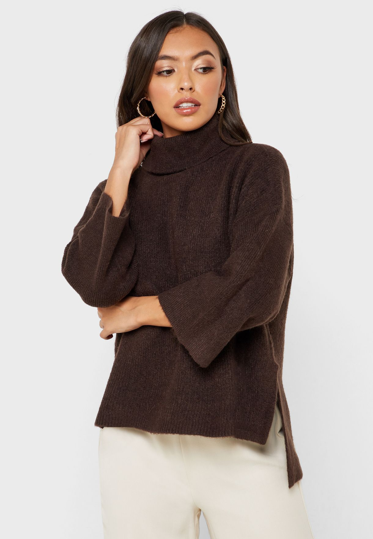 High Neck Wide Sleeve Sweater